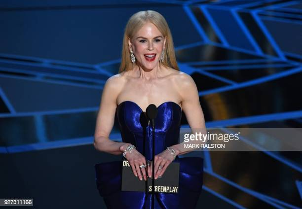 Australian actress Nicole Kidman presents the Oscar for Best Original Screenplay during the 90th Annual Academy Awards show on March 4, 2018 in...