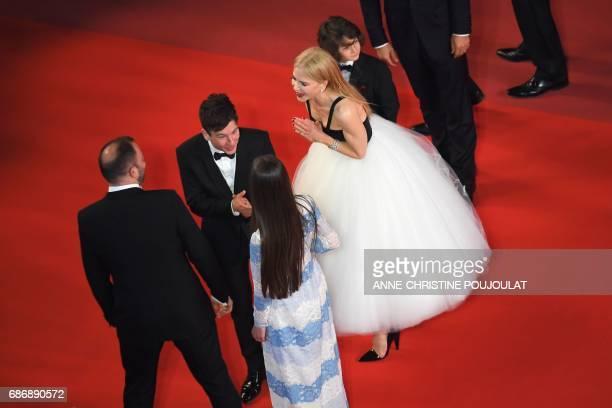 Australian actress Nicole Kidman talks with Greek director Yorgos Lanthimos Irish actor Barry Keoghan and British actress Raffey Cassidy on May 22...