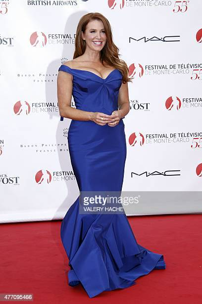 Australian actress Poppy Montgomery poses during the opening ceremony of the 55th MonteCarlo Television Festival on June 13 in Monaco AFP PHOTO /...