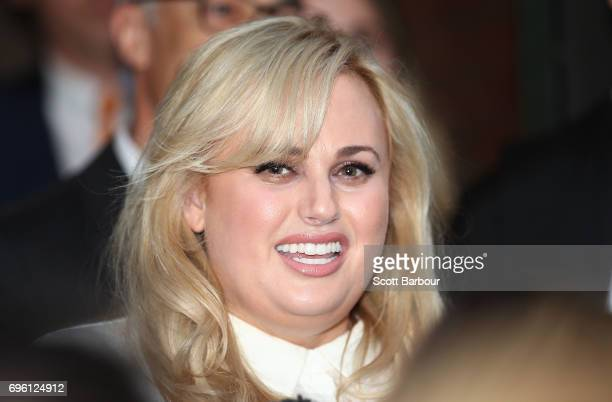 Australian actress Rebel Wilson smiles out the front of the Victorian Supreme Court on June 15 2017 in Melbourne Australia After a three week trial a...