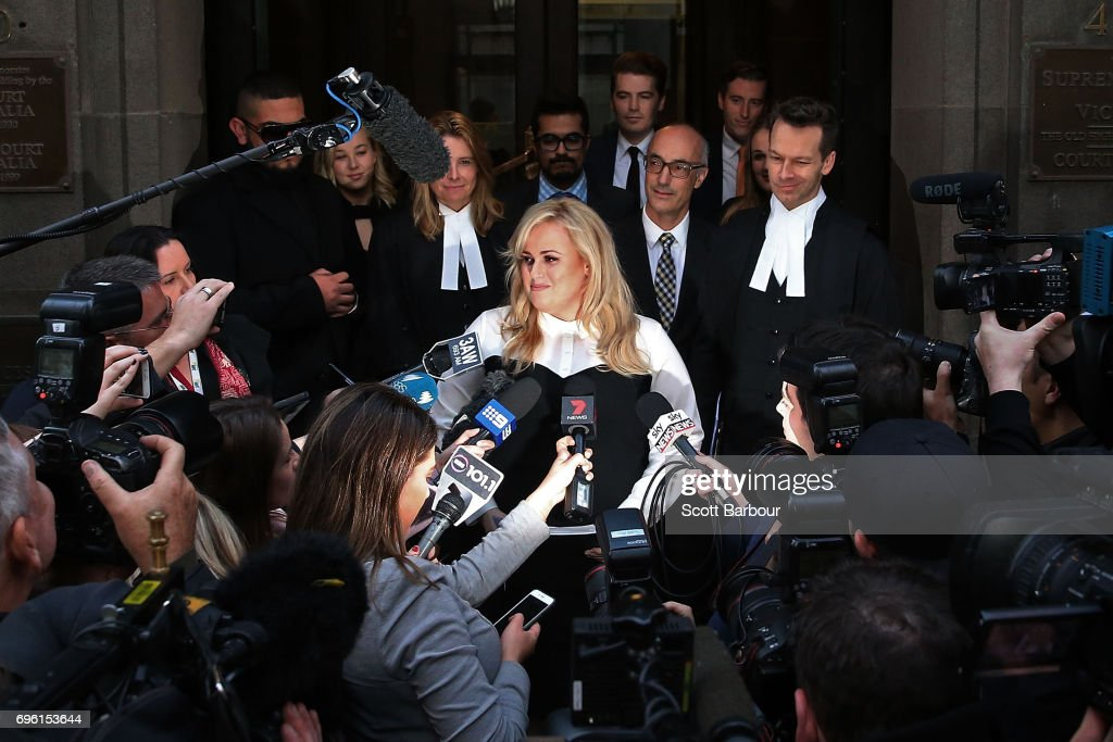 Australian actress Rebel Wilson speaks to the media as she leaves the Victorian Supreme Court on June 15, 2017 in Melbourne, Australia. After a three week trial, a jury of six has returned unanimous verdicts in favour of Wilson. Rebel Wilson launched action Bauer Media, the publisher of Woman's Day, over a series of articles she alleges portrayed her as a serial liar and cost her movie roles in Hollywood.