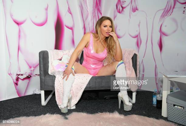 Australian Adult Film actress Madison Missina poses at SEXPO Sydney 2018 at the International Convention Centre on June 14 2018 in Sydney Australia