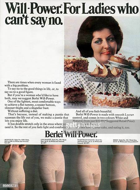 Australian advertisement for Berlei WillPower girdle for ladies who can't say no 1973