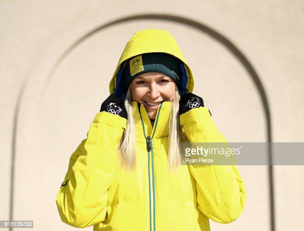Australian Aerial Skier Danielle Scott poses during previews ahead of the PyeongChang 2018 Winter Olympic Games at Alpenisa Ski Resort on February 7...