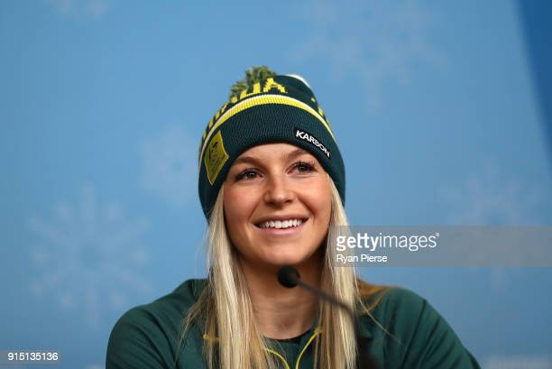 Australian Aerial Skier Danielle Scott speaks during a press conference during previews ahead of the PyeongChang 2018 Winter Olympic Games at...