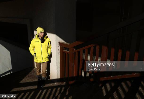 Australian Aerial Skier Lydia Lassila poses during previews ahead of the PyeongChang 2018 Winter Olympic Games at Alpenisa Ski Resort on February 7...