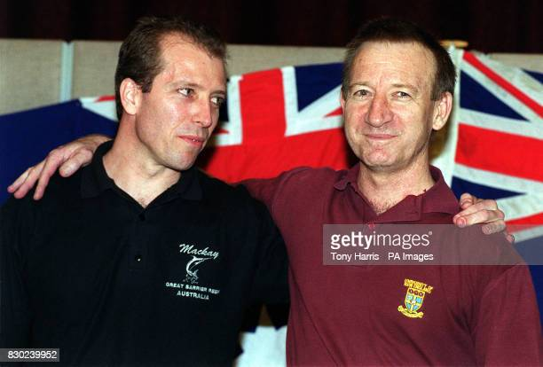 Australian aid workers Peter Wallace and Steve Pratt at a photocall in London after being released after spending five months in jail in Yugoslavia...