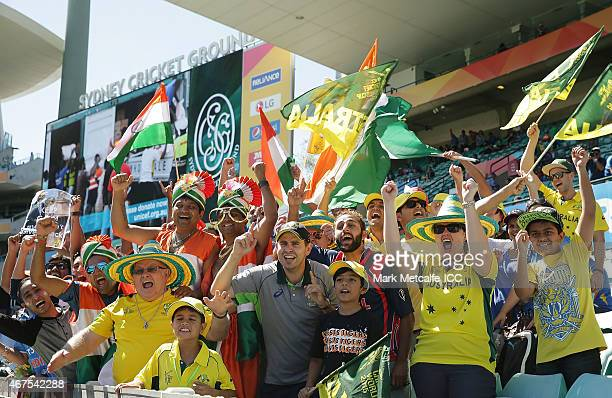 Australian and Indian fans show their support before the 2015 Cricket World Cup Semi Final match between Australia and India at Sydney Cricket Ground...