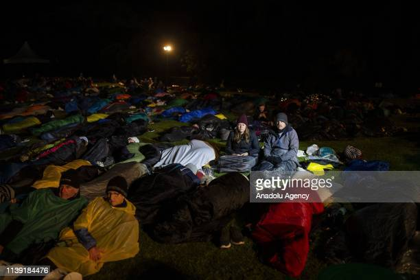 Australian and New Zealanders attend the ANZAC Dawn service at Anzac Cove in commemoration of the 104th anniversary of Canakkale Land Battles on...