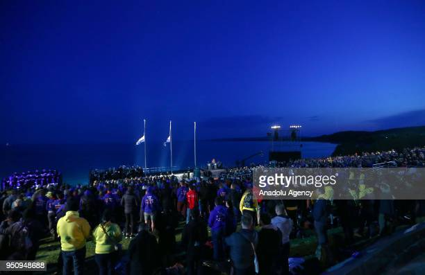 Australian and New Zealanders attend the ANZAC Dawn service at Anzac Cove in commemoration of the 103rd anniversary of Canakkale Land Battles on...