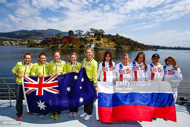 Australian and Russian team members pose for a photo before the official draw ahead of the Fed Cup Tie between Australia and Russia on February 7...