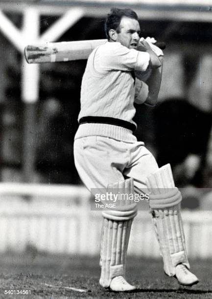 Australian and Victorian opener Colin McDonald gets among the runs at Bendigo 5 December 1955 THE AGE SPORT Picture by STAFF