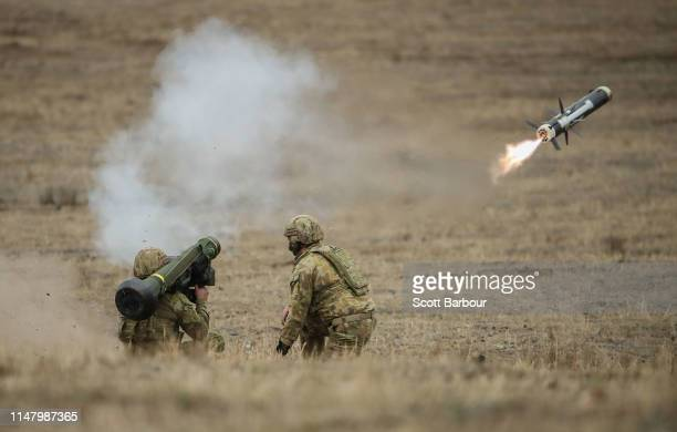 Australian Army soldiers fire a Javelin anti-tank missile during Exercise Chong Ju at the Puckapunyal Military Area on May 09, 2019 in Seymour,...