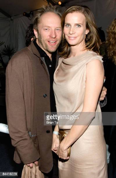 Australian artist Andrew Taylor and his wife actress Rachel Griffiths arrive at ART LA 2009 MOCA Benefit Opening Night Reception at Barker Hangar on...