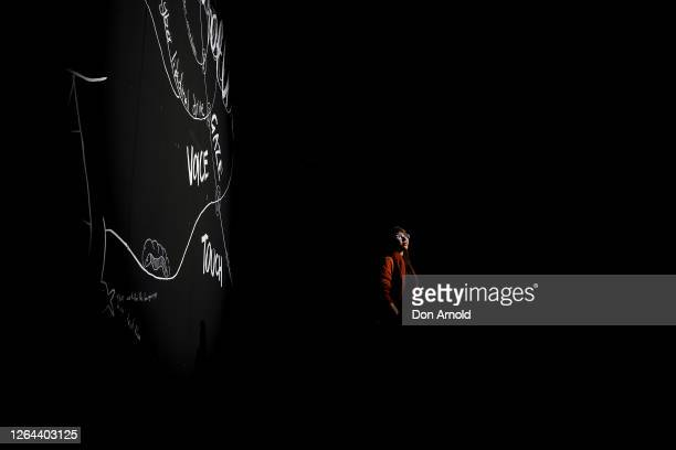 Australian artist Giselle Stanborough poses in front of her installation 'Cinopticon' at Carriageworks on August 07, 2020 in Sydney, Australia. The...