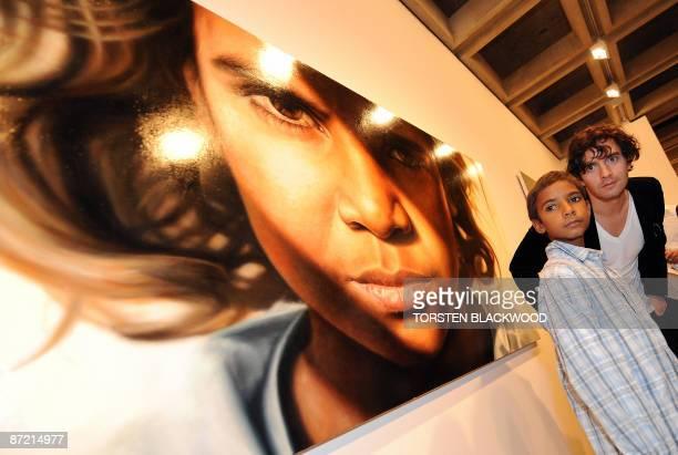 Australian artist Vincent Fantauzzo looks stunned after his striking portrait of Aboriginal child actor Brandon Walters won the 2009 Archibald...