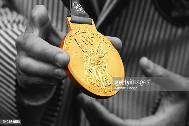 Australian athelete Jared Tallent receives his Olympic gold medal at the Old Treasury Building on June 17 2016 in Melbourne Australia Tallent today...
