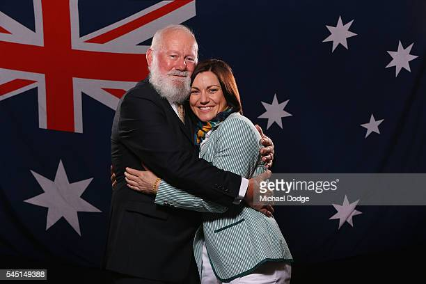 Australian athlete Anna Meares poses with her father Tony at the Stamford Plaza during a portrait session after being announced as the Australian...
