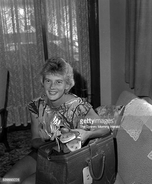 Australian athlete Betty Cuthbert at home with her famous running shoes 13 March 1963 SMH Picture by FRANK BURKE