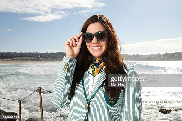 Australian athlete Charlotte Caslick poses in the Australian 2016 Rio Olympic Games Opening Ceremony uniform during the Australian Olympic Games...