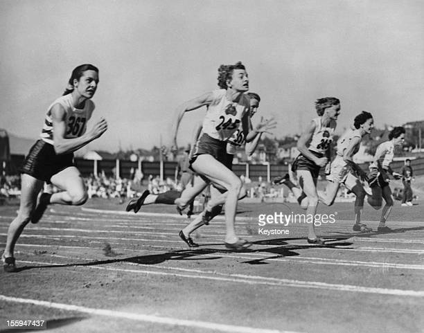 Australian athlete Marjorie Jackson during the first heat of the Women's 100 Yard Dash at the British Empire Games in Vancouver Canada 6th August...