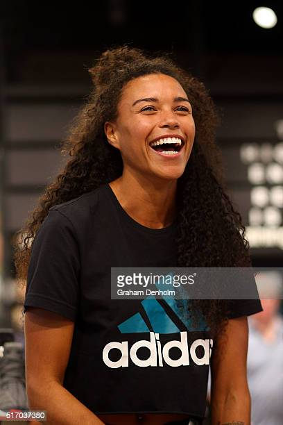 Australian athlete Morgan Mitchell smiles at the new adidas Bourke Street Store on March 23, 2016 in Melbourne, Australia.