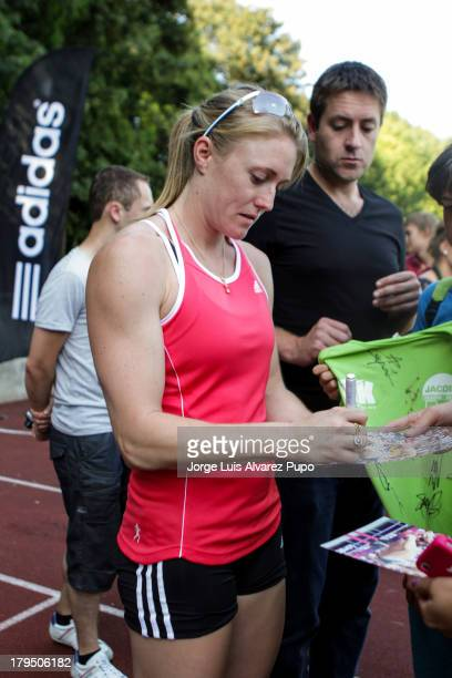 Australian Athlete Sally Pearson signs autographs during the Adidas Kids Clinic of the IAAF Diamond League Memorial Van Damme meeting at the stadium...