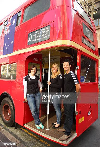 Australian athletes Anna Meares Casey Eastham and Jamie Dwyer pose outside a traditional London bus during an Australian Olympic Committee media...