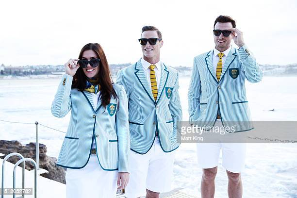 Australian athletes Charlotte Caslick, Ed Jenkins and Josh Dunkley-Smith pose in the Australian 2016 Rio Olympic Games Opening Ceremony uniform...