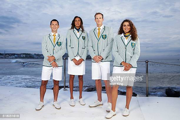 Australian athletes Jamie Dwyer, Taliqua Clancy, Ken Wallace and Jessica Fox pose in the Australian 2016 Rio Olympic Games Opening Ceremony uniform...