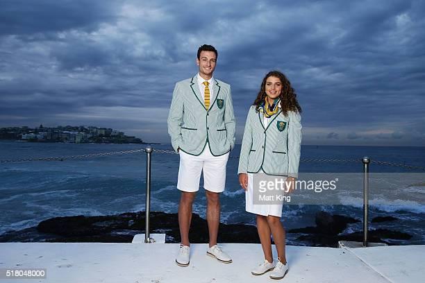 Australian athletes Josh DunkleySmith and Jessica Fox pose in the Australian 2016 Rio Olympic Games Opening Ceremony uniform during the Australian...