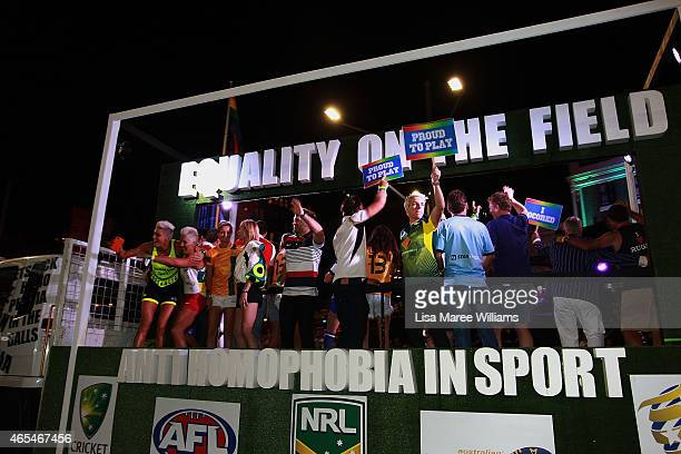 Australian athletes make their way along Oxford Street aboard the 'Equlaity On The Field' float during the 2015 Sydney Gay Lesbian Mardi Gras Parade...