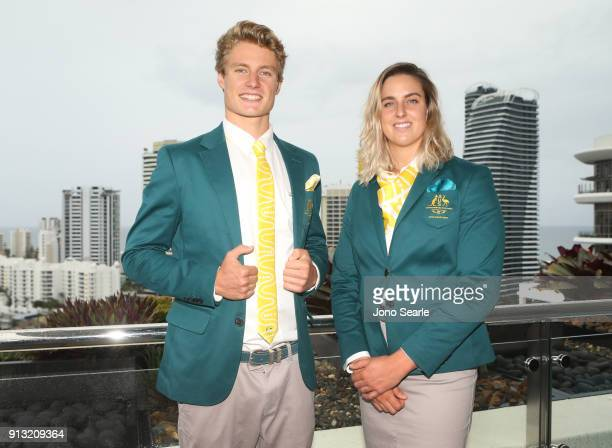 Australian Athletes Matt Hauser and Britany Elmslie pose during the Australian Commonwealth Games Team Uniform Launch at The Star on February 2 2018...