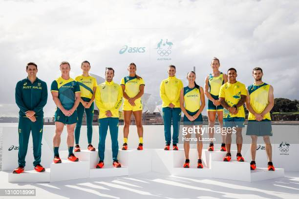 Australian athletes pose during the Australian Olympic Team Tokyo 2020 uniform unveiling at the Overseas Passenger Terminal on March 31, 2021 in...