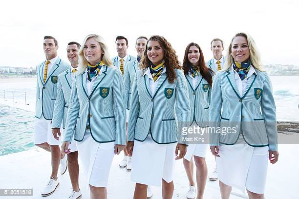 Australian athletes pose in the Australian 2016 Rio Olympic Games Opening Ceremony uniform during the Australian Olympic Games Opening Ceremony...