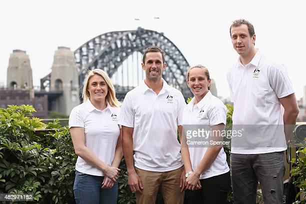 Australian athletes Sally Pearson Mark Knowles Madonna Blyth and Joe Ingles pose during an Australian Olympic press conference at Museum of...