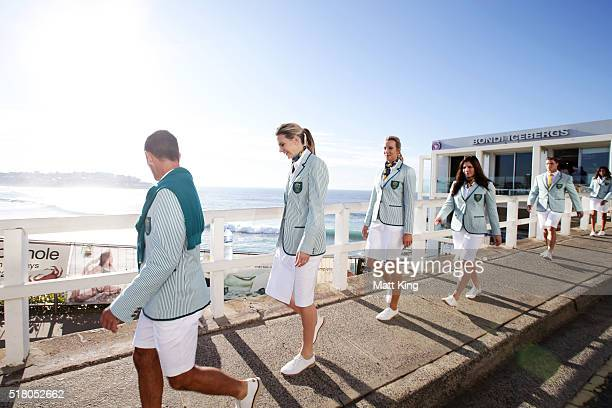 Australian athletes take part in the Australian Olympic Games Opening Ceremony Uniform Official Launch at Bondi Icebergs on March 30 2016 in Sydney...