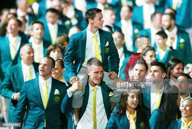 Australian athletes walk around during the Opening Ceremony for the Gold Coast 2018 Commonwealth Games at Carrara Stadium on April 4 2018 on the Gold...