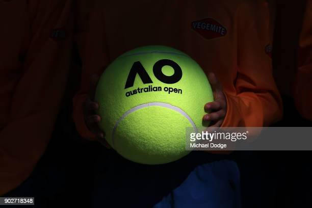 Australian ball kids get officially welcomed during a practice session ahead of the 2018 Australian Open at Melbourne Park on January 9 2018 in...