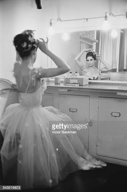 Australian ballerina and ballet teacher Lucette Aldous backstage in her dressing room after rehearsals for 'The Dream' 2nd May 1967