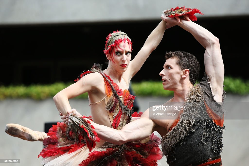 Australian Ballet principal dancers Lana Jones and Kevin Jackson perform an excerpt of Graeme Murphy's Firebird at Melbourne Arts Centre on March 14, 2018 in Melbourne, Australia.