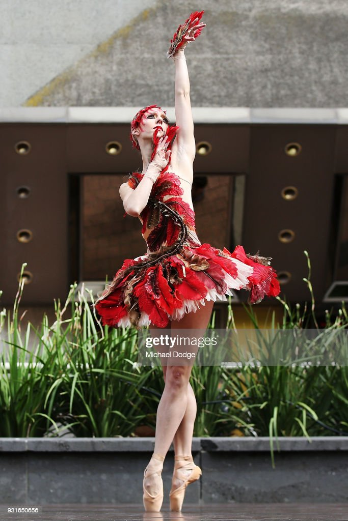 Australian Ballet principal dancers Lana Jones and Kevin Jackson perform an excerpt of Graeme Murphy's Firebird at Melbourne Arts Centre on March 14, 2018 in Melbourne, Australia.