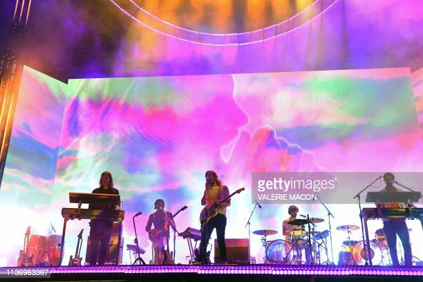 Australian band Tame Impala performs on stage at the Coachella Valley Music and Arts Festival on April 13 in Indio California
