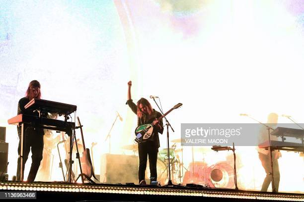 TOPSHOT Australian band Tame Impala performs on stage at the Coachella Valley Music and Arts Festival on April 13 in Indio California
