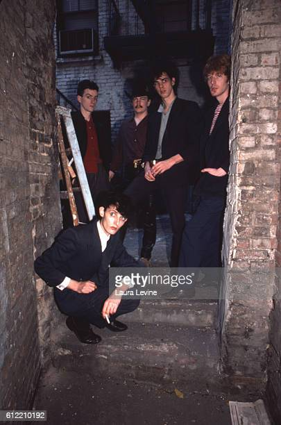 Australian band The Birthday Party L to R Mick Harvey Rowland Howard Tracy Pew Nick Cave Phill Calvert