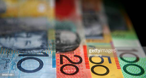 Australian banknotes in various denominations are arranged for a photograph in Sydney Australia on Thursday April 2 2009 The Australian dollar...