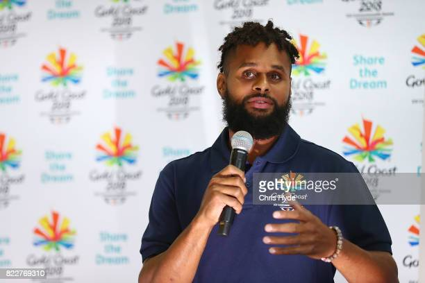 Australian basketball champion Patty Mills speaks at Keebra Park High School on July 26 2017 in Gold Coast Australia Mills has been announced as the...