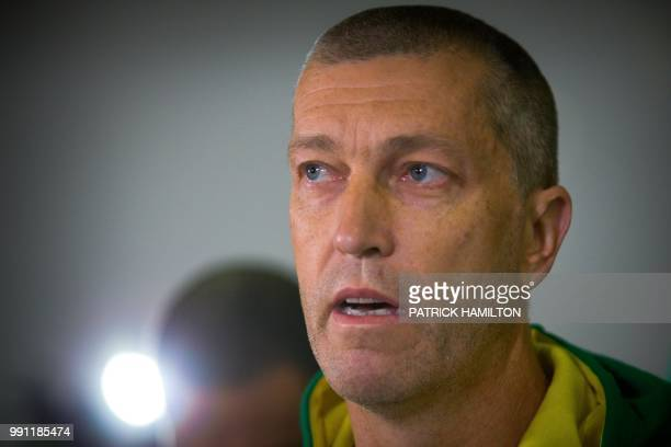 Australian basketball head coach Andrej Lemanis attends a press conference at Brisbane airport on July 4 two days after their FIBA World Cup Asian...