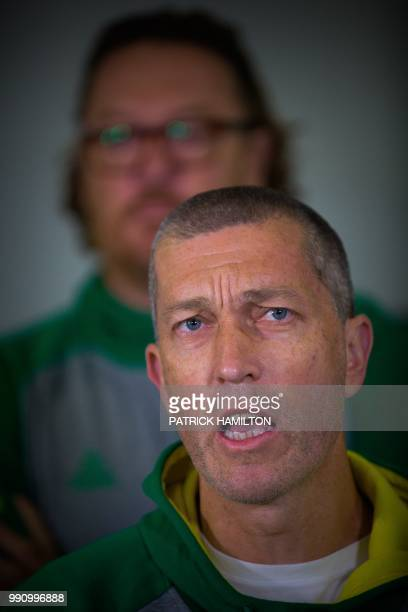 Australian basketball head coach Andrej Lemanis speaks during a press conference at Brisbane airport on July 4 two days after their FIBA World Cup...