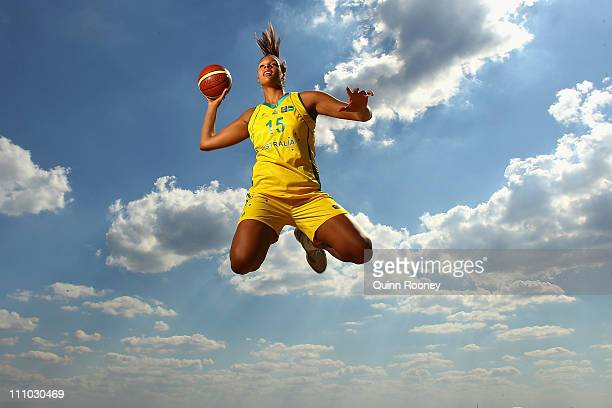 Australian basketball player Liz Cambage poses during a portrait shoot at Brighton Beach on March 29 2011 in Melbourne Australia